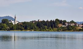 Landscape of Lombardy, lake of pusiano in the province of Como, view of Bosisio Parini Royalty Free Stock Image