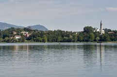 Landscape of Lombardy, lake of pusiano province of Como, view of Bosisio Parini Stock Photos