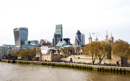 Landscape of London's skyscrapers with Thames river, UK Royalty Free Stock Photos