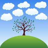 Landscape - Lonely tree. Beautiful landscape - Lonely tree on a hill under the clouds in the vector Royalty Free Stock Photography