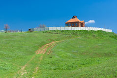 Landscape with lonely Ukrainian house Stock Photography
