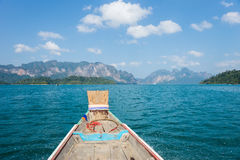 Landscape and long-tail boat in Khao Sok National Park Royalty Free Stock Images