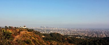 Landscape of Los Angeles and Griffith Observatory. California, United States of America. I used a Canon EOS 450D, Lens 18-55 mm Royalty Free Stock Photo