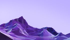 Landscape Low poly with Colorful Gradient Psychedelic Purple - Blue on Background. 3d rendering royalty free illustration