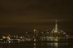 Landscape:Lower Manhattan Lights on Warm Cloudy Night Royalty Free Stock Photography