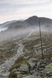Landscape of lower tatra mountains with pathway. From stones Stock Images