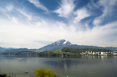 Landscape of Lucerne lake and shore, and Mount Pilatus in Switzerland Stock Photography