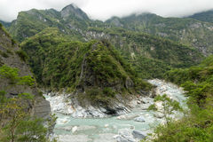 Landscape of lush mountains, ravine and a river in Taroko Stock Image
