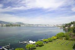 Landscape of Luzern lake and the Luzern city in Switzerland Stock Image