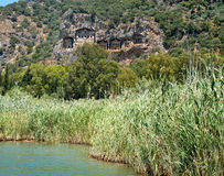 Landscape of Lycian rock cut tombs at Dalyan, Turkey Royalty Free Stock Images