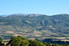 Landscape made of trees, fields and meadows, with mountains and the `Mont Ventoux` in the background. In Drôme Provencale, Provence in France Stock Image