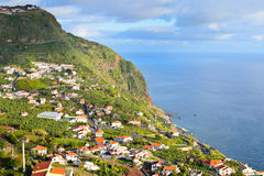 Landscape with Madeiran coastal village Stock Photo