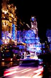 Landscape of Madrid streets at night including moved lights stock image