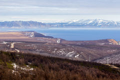 Landscape of the Magadan region. Mountain landscape the Sea of Okhotsk, Magadan, Russia Royalty Free Stock Photos