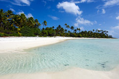 Landscape of of Maina Island in Aitutaki Lagoon Cook Islands Royalty Free Stock Photos