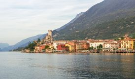 Landscape with Malcesine at Lake Garda. Nice, romantic, landscape with Malcesine at Lake Garda in Italy stock photography