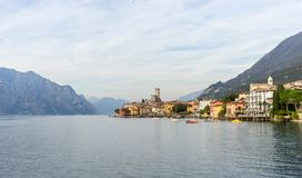 Landscape with Malcesine at Lake Garda. Nice, romantic, landscape with Malcesine at Lake Garda in Italy royalty free stock images