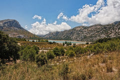 Landscape Mallorca Lake de Cüber. A beautiful landscape picture of mountains and a lake in de Cüber on Mallorca Stock Photography