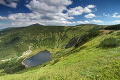 Landscape with Maly Staw. Landscape with glacial lake Maly Staw in Krkonose mountains Stock Image