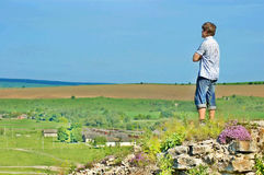 Landscape and a man Royalty Free Stock Image