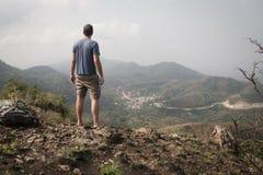 Landscape with man in Amedzofe, Volta Region, Ghana Stock Image