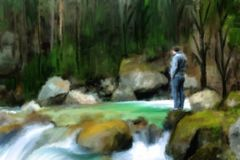 landscape: man at the river in deep forest stock image