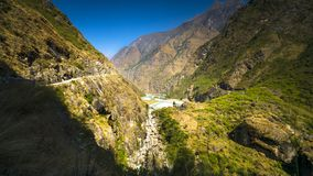 Landscape of manang District on the way annapurna circuit stock images
