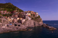 Landscape of Manarola, Cinque Terre, Italy waterfront Royalty Free Stock Photo