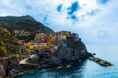 A Landscape of Manarola in Liguria Italy stock photo