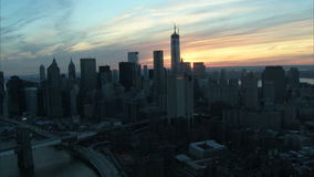 Landscape manhattan sunrise aerial stock video