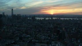 Landscape Manhattan sunset aerial stock video