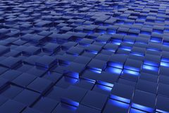 Blue cubes. A landscape with many blue cubes Stock Images