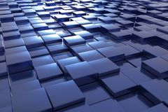 Blue cubes. A landscape with many blue cubes Stock Image