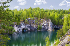 Landscape with Marble Canyon in Karelia Ruskeala Stock Photo