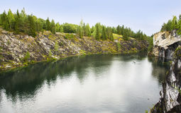 Landscape with Marble Canyon in Karelia Ruskeala Royalty Free Stock Photography