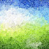 Landscape marble irregular plastic stony mosaic pattern texture background with white grout - blue sky over green Royalty Free Stock Image