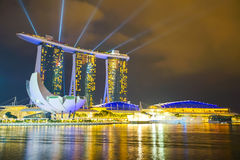 Landscape of the Marina Bay Sands laser show Royalty Free Stock Photography