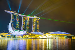 Landscape of the Marina Bay Sands laser show Stock Photos