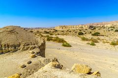 Landscape and Marlstone rock formation. Near Neot HaKikar, northern Arava valley, south of the Dead Sea, Southern Israel Royalty Free Stock Photography