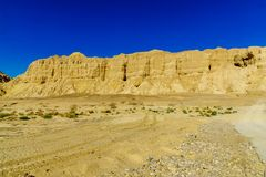 Landscape and Marlstone rock formation. Near Neot HaKikar, northern Arava valley, south of the Dead Sea, Southern Israel Royalty Free Stock Photo