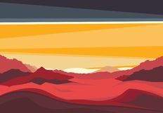 Landscape with Mars mountains in sunset light. Red terrestrial exo planet. Panoramic evening view from the valley. Futuristic scenery. Vector space Royalty Free Stock Photo
