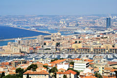 Landscape of Marsylia and port of Marsylia. Marseille Port in France. Old houses and sunny day Stock Photo