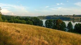 Landscape of Masuria in Poland. Juno Lake near Kiersztanowo. Warmian-Masurian region in northern Poland. View on Juno lake near the village of Kiersztanowo stock images