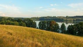 Landscape of Masuria in Poland. Juno Lake near Kiersztanowo. Warmian-Masurian region in northern Poland. View on Juno lake near the village of Kiersztanowo stock photo