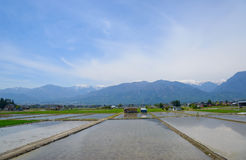 Landscape of Matsumoto basin, Nagano, Japan. Landscape in Matsumoto basin and the northern Japan Alps in Nagano, Japan stock image