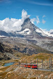 Landscape of Matterhorn mountain with railway, swiss Alps. Gornergrat Zermatt, Switzerland. Landscape of Matterhorn mountain with railway, swiss Alps stock image