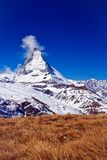 Landscape of Matterhorn peak with dry meadow Royalty Free Stock Photos
