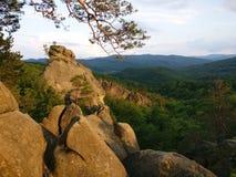 Landscape in the mauntains Dovbush rocks Stock Photo