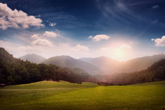Landscape with meadow and hills Royalty Free Stock Photos