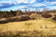 Landscape with meadow, trees and heart in grass Royalty Free Stock Photos